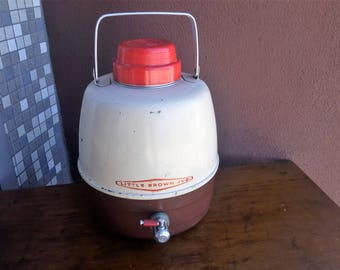 Hemp & Co Little Brown Jug 2 Gallon Drinking Storage Thermos Vintage Camping Metal Tan and Brown