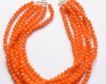 Ariel - Orange Glass Bridesmaid Statement Necklace