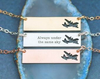 Military Deployment Gift • Airplane Air Force Gift Pilot Jewelry Military Necklace C-130 Always Under the Same Sky Military Wife