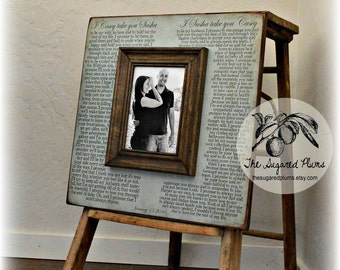 Wedding Vow Art, Framed Wedding Vows, Wedding Vow Keepsake, Anniversary Gift, Gift for Groom, Gift for Bride, 5th Anniversary Gift, 16x16