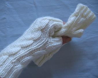 White Hand Made Fingerless Gloves For Her