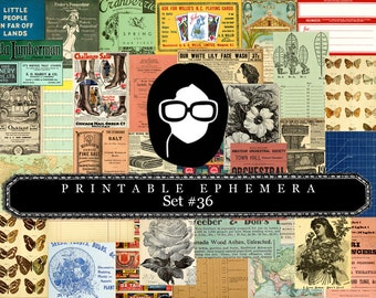 Ephemera Pack - Printable Ephemera Set #36 - 30 Page Instant Download - junk journal kit, journaling kit, journal cards, ephemera paper pack