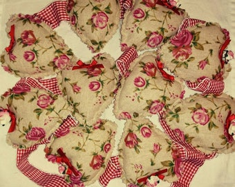 Bunting, Floral Bunting, Hearts Bunting Fabric bunting, 2m long, Shabby chic, red, pink, floral,country cottage style, Rustic, vintage style