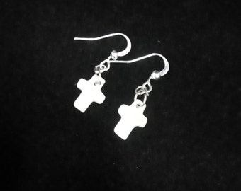White Mother of Pearl Cross Silver Plated Earrings