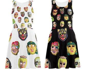 Vintage Halloween Masks Skater Dress - printed flared tank dress - women's Halloween dress - photographic vintage masks dress - USA XS-3XL