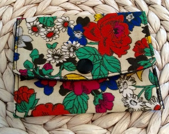 Cute Floral Wallet - Credit Card Holder - Small Snap Wallet - Minimalist Wallet - Travel Wallet - Pocket Wallet