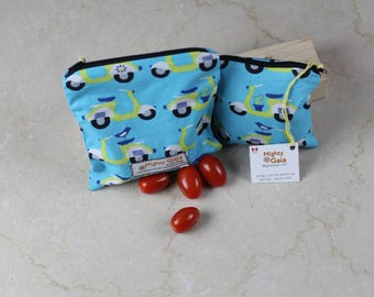 Scooter Organic snack bags, Reusable Snack Bag Set, Organic fabric, Organic Treat Bag, Gender Neutral