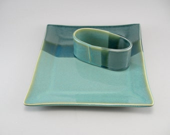 Ceramic Serving Plate, Cheese & Cracker Set, Pottery Platter, Appetizer Set, Turquoise Pottery, Celadon Pottery