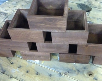 Rustic reclaimed wood centerpiece box dining table box set of ten rustic wedding centerpiece flower boxes table centerpiece wood flower boxes junglespirit Image collections