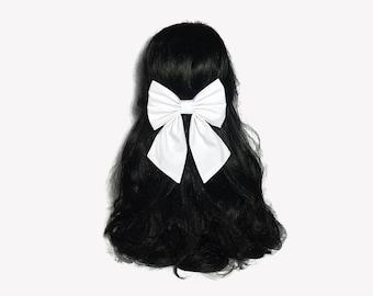 White Hair Bows For Women, Hair Bows For Women, White Hair Bow, White Bow, Gift For Women, White Hair Clip, Hair Bows For Girls, Dance Bows