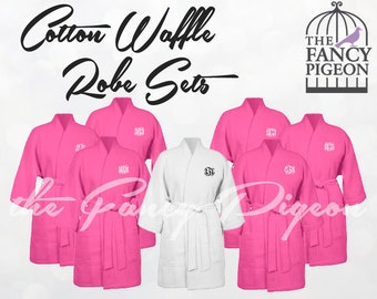 HOT PINK COTTON Robes - Personalized Robes - Cotton Bridesmaid Robes - Cotton Waffle Robes - Wedding Day Robes - Embroidered Robes - Kimono