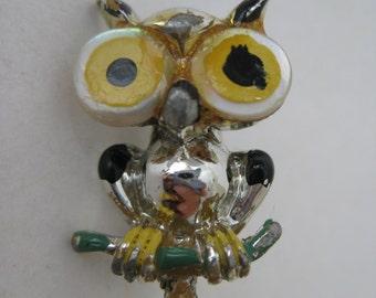 Shabby Owl Brooch Vintage Pin