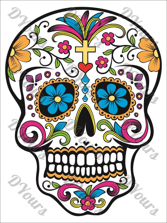 Sugar Skull Fully Coloured Mexican Day Of The Dead