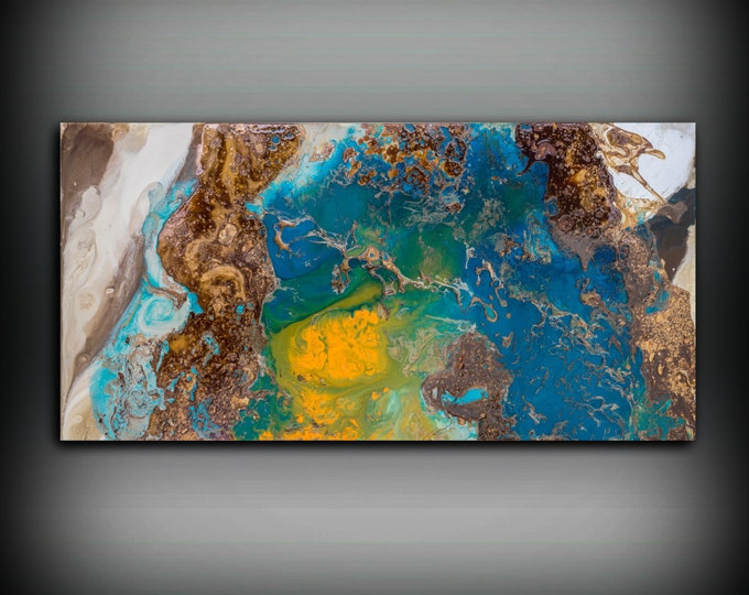 Abstract Fine Art Print, Abstract Print from original Abstract Painting, Large Abstract Art, Copper Wall Hanging, Blue Painting Wall Decor