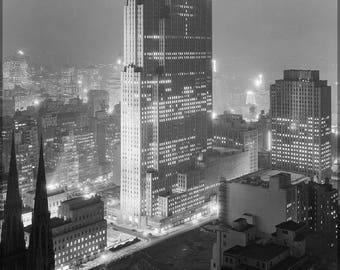 Poster, Many Sizes Available; Rockefeller Center With (Then) Rca Building, December 1933