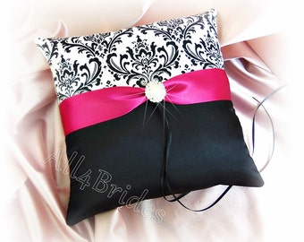 Wedding pillow, Madison damask and fuchsia pink ring bearer pillow.  Damask ring cushion