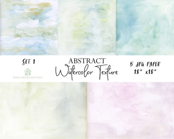 "Watercolor (Abstract) Digital Paper Pack Set 1: ""Watercolor Washes "" background papers in beautiful pastel colors - Commercial Use 18"" x 18"""