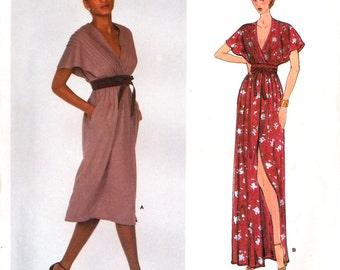 70's Vogue American Designer 2246 Jerry Silverman Deep V-Neck Evening/Formal Dress in Two Lengths, Uncut, F/Folded, Sewing Pattern Size 14