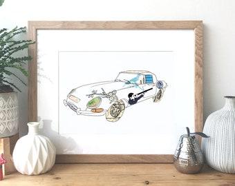 Jaguar E-Type - Ink and collage illustration