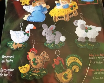 Vintage New Bucilla Nativity Baby Jesus ornament kit set of 8 from 2001 # 84598