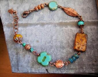 Bronze Beaded Bracelet, Turquoise, Bohemian, Botanical Jewelry, Etched Czech Beads, Woodland Bracelet, Summer