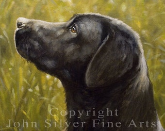 Aceo Dog Print, Black Labrador Retriever. From an Original Painting by JOHN SILVER. Personally signed. BL001AC