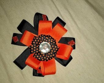 Black/Orange Hairbow