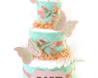 Mint and Coral Diaper Cake, Butterfly Diaper Cake, Peach, Mint and Gold Baby Shower Centerpiece