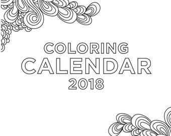 Coloring calendar | Etsy