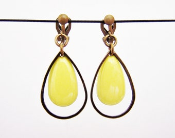 Yellow enameled sequin clip earrings