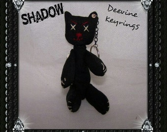"KEYRING ""Shadow"" cat keyring,keychain,toy keyring,gothic cat,creepy cat"