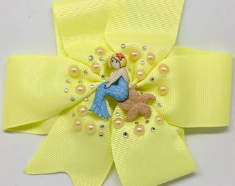 Mermaid - Large: 12.5cm Pinwheel Hair Bow Clip