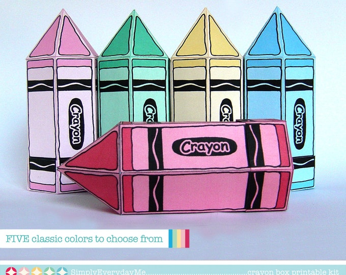 Five Crayon Box - for birthday, shower, favor box, gift box or gift cards - INSTANT Download DIY Printable PDF Kit