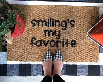Smiling's my favorite, Elf Christmas Welcome Mat - Fun holiday doormats for fun people!