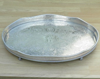 Gallery Tray - Silver Plated on Copper - Pierced Edge - Bird-like Feet - Vintage Silverplate