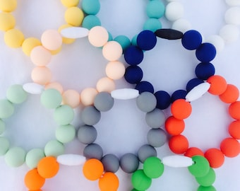 Silicone beaded bracelet child teething ring baby