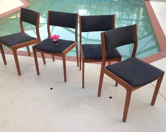 4 TEAK Mid Century Modern D Scan Dining Chairs / Mid Century Teak Chairs / 4 D Scan Dining Chairs / Mid Century Modern at Retro Daisy Girl