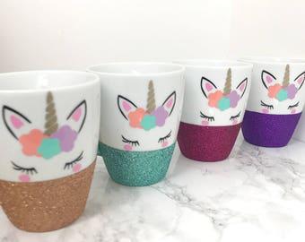 Unicorn Mug - Personalised Unicorn Mug - Glitter Mug - Personalised Glitter Mug- Coffee Mug - Tea Mug -Flower Crown Unicorn - Coffee Cup