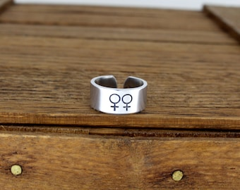 Female Gender Symbols Ring - Gay Pride - Lesbian - LGBTQ - Aluminum Adjustable Cuff Ring