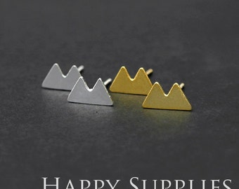 Nickel Free - High Quality Double Mountains Dual-used Golden / Silver Brass Earring Post Finding with Ear Stud Stopper (ZEN119)