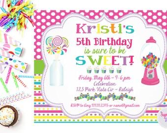 Sweet Treats Birthday Party Invitation,  Birthday Party Invite,  Candy Party,  Printable Birthday Party Invitation,  Sweet Birthday