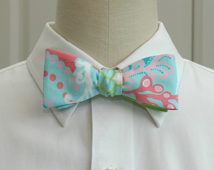 Men's Bow Tie, Check In surf blue Lilly print bow tie, aqua/rose/lime bow tie, wedding bow tie, groom bow tie, groomsmen gift, prom bow tie