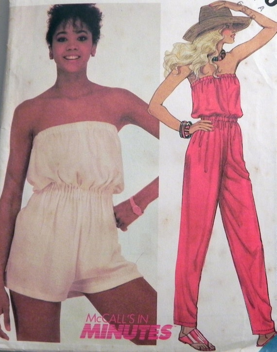 1980s Jumpsuit or Playsuit sewing pattern Beach coverup McCalls 2030 ...
