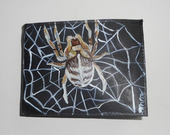 Spider Hand Painted Leather Wallet for Men