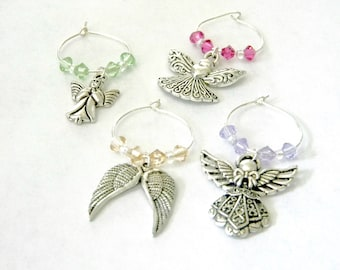 Angel Wine Charms Set of Four