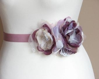 Purple sash Champagne purple sash Purple ivory sash Bridesmaids sash Bridal accessory Purple bridal sash Blush Ivory Purple Champagne sash