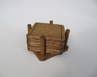 Woodwork Home gift idea Wooden items Set of 6 coasters Rustic coasters Pallet coasters Table coasters Coaster set Wooden coasters Drinkware