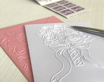 Rose Bouquet Cards (No.88) - Pack of 6 Embossed Rose Note Cards. Wedding Card. Wedding Thank You Cards. Wedding Bouquet. Rose Cards