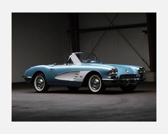 1958 Chevrolet Corvette C1 muscle Poster or Canvas
