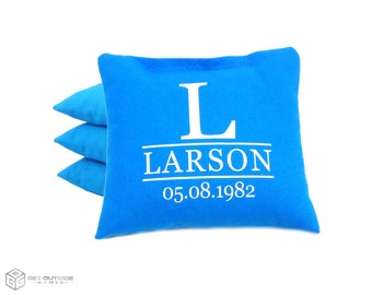 4 Custom Name & Date Anniversary Classic Series Cornhole Bags   Corn or All Weather with Color Options